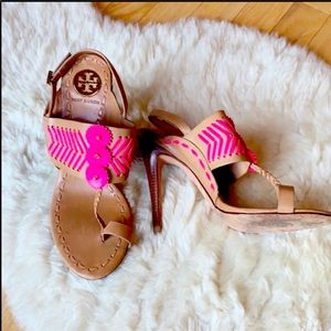 TORY BURCH heels size 9 brown pink leather strappy